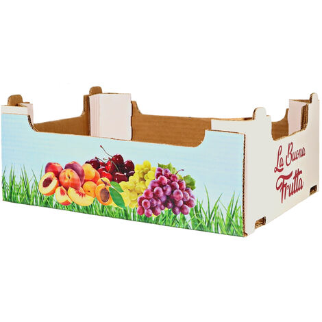 Cassetta in cartone flapp azzurra stampa la buona frutta per ortofrutta *** dimensioni 30x40x14 cm - confezione 12