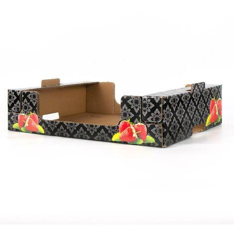 Cassetta in cartone plaform stampa asparagi fondo nero multiuso per ortofrutta per agricoltura *** dimensioni 30x40x9 cm - confezione 16