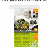 Verdemax 30 pezzi velo telo di protezione in tnt 30 gr/mq bianco ciascuno metri 1,6x10