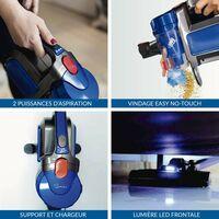 SAMBA-Aspirateur balai sans fil Aspira Pro. Brosse motorisée flexible 180º, lumière LED, 2 niveaux puissance, buse combinée,150W - Bleu