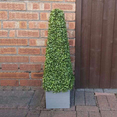 Artificial Boxwood Potted Cone Tree With Wooden Effect Pot