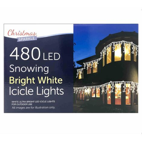 480 LED Snowing Bright White Icicle Lights