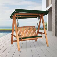 Tropicana Two Seater Wooden Swing With Canopy