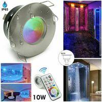 Faretto Led da incasso per bagno box doccia lampada RGBW 10W GU10 cromoterapia