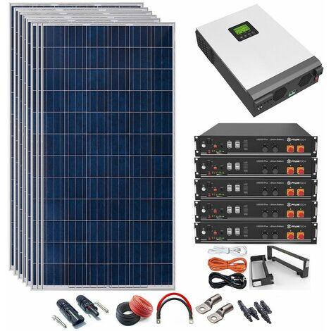 Kit Solar 48v 2640w Inversor Híbrido con batería de Litio 5Kw MPPT 80A