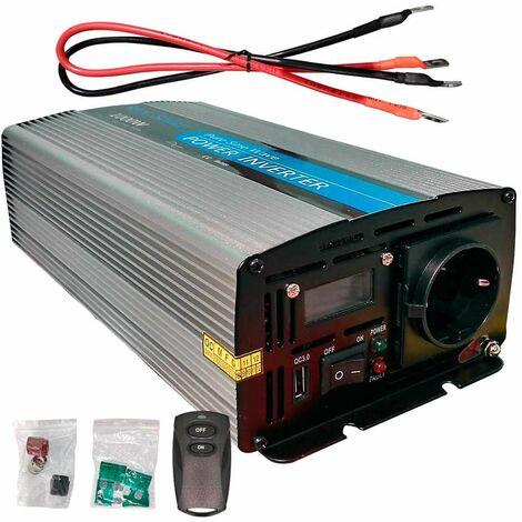 Inversor solar 1000w 12v Onda pura LCD + Mando + Cables de 16mm2 WccSolar
