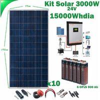 Kit Solar 24v 3000w Inversor Híbrido 3Kw MPPT 80A VHM, 6OPZS 900Ah