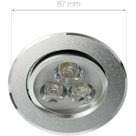 Spot LED intérieur  orientable et encastrable 3W focus   Variation de lumière Non dimmable - Température de couleur Blanc Lumière du jour - Finition Aluminium - Tension 180-230 V (AC 50-60Hz) - Angle de diffusion 30° - Indice de Protection IP22 - Puissanc