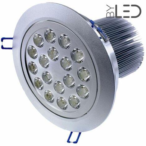 Spot LED intérieur orientable et encastrable 18W focus | Température de couleur Blanc Pur - Variation de lumière Non dimmable - Finition Aluminium - Puissance (en Watts) 18 W