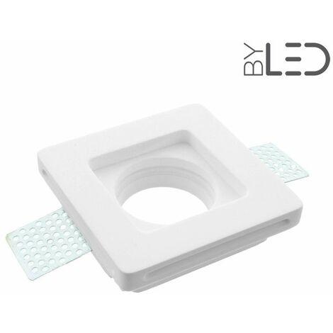Spot encastrable en plâtre carré plat (staff - PEC03) | Finition Staff