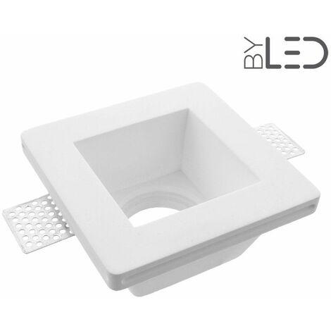 Spot encastrable en plâtre carré profond (staff - PEC02) | Finition Staff