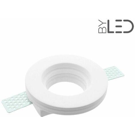 Spot encastrable en plâtre rond plat (staff - PER03) | Finition Staff