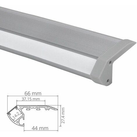 Profilé nez de marche d'escaliers pour éclairage ruban LED - aluminium - Diffuseur et embouts inclus (craft s02) | Diffuseur Givré - Longueur du profilé 1 m - Finition Aluminium