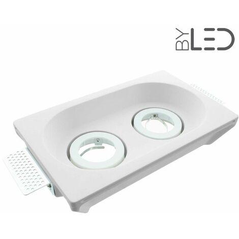 Spot encastrable en plâtre rond orientable double (staff - PER25) | Finition Staff - Puissance (en Watts) -ampoule- - Température de couleur (ampoules)