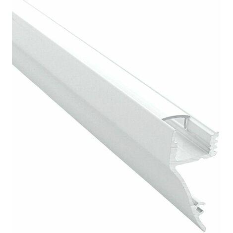 Profilé de corniche en aluminium laqué blanc pour ruban LED - Craft (M01) | Diffuseur Transparent - Longueur du profilé 1 m - Pour taille de ruban (en mm) 12 - Finition Blanc