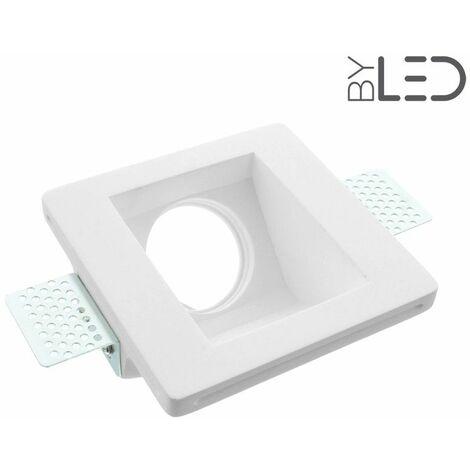 Spot encastrable en plâtre carré oblique (staff - PEC04) | Finition Staff