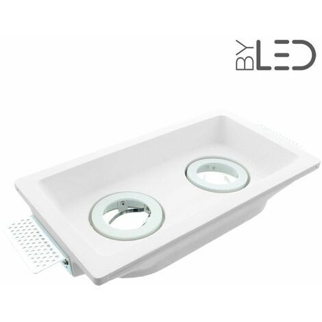 Spot encastrable en plâtre carré orientable double (staff - PEC25) | Finition Staff - Puissance (en Watts) -ampoule- - Température de couleur (ampoules)