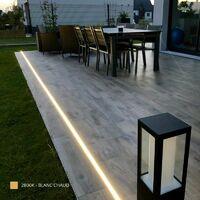 Profilé encastrable au sol et mur pour ruban LED + diffuseur (Craft F01) | Diffuseur Givré - Longueur du profilé 1 m