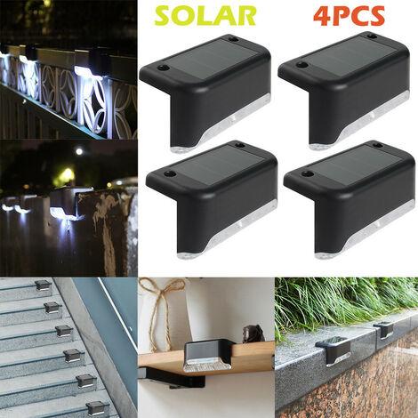 4PCS LED chemin solaire escalier lumière extérieure jardin cour clôture mur paysage lampe