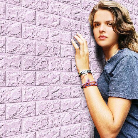 Nouveau PE mousse 3D papier peint bricolage Stickers muraux décoration murale en relief brique pierre PP Violet - Violet
