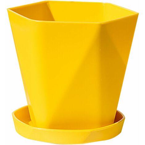 Balcon Ménage Pot De Fleur En Plastique Résine Nordique Épaissir Grand Pot De Fleur 2 PC Jaune - Jaune