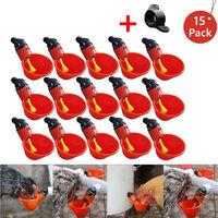 Nourrir les tasses à boire automatiques d'eau de poulet de volaille de cage d'oiseau 15Pcs