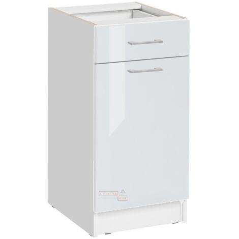 Meuble bas de cuisine - 1 porte + 1 tiroir L 40 cm - blanc brillant - Blanc brillant.