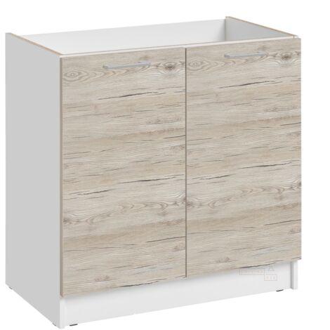 Meuble sous-évier - 2 portes, L 80 cm - décor noyer blanchi - Noyer blanchi.