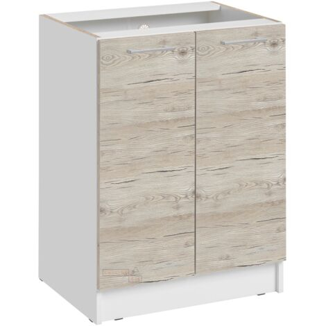 Meuble bas de cuisine - 1 porte L 60 cm - décor noyer blanchi - Noyer blanchi.