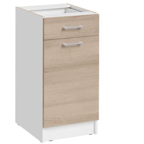 Meuble bas de cuisine - 1 porte + 1 tiroir L 40 cm - décor chêne naturel