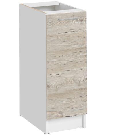 Meuble bas de cuisine - 1 porte L 30 cm - décor noyer blanchi - Noyer blanchi.