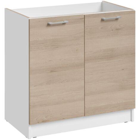 Meuble sous-évier - 2 portes, L 80 cm - décor chêne naturel - Chêne naturel