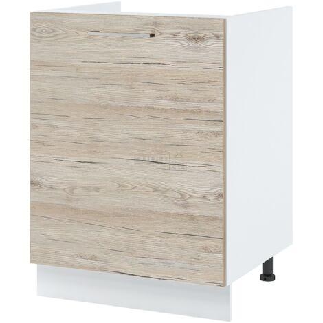 Meuble sous-évier - 1 porte, L 60 cm - Noyer blanchi.