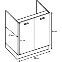 Meuble sous-évier - 2 portes, L 80 cm - gris brillant - Gris brillant.