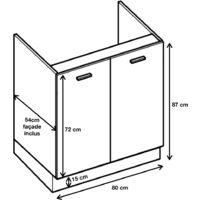 Meuble sous-évier - 2 portes, L 80 cm - Noyer blanchi.