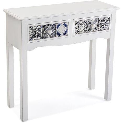 Versa Pireo Mueble Recibidor Estrecho, Mesa Consola, 78x30x81cm - Blanco