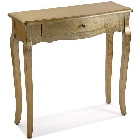 Versa Cagliari Mueble Recibidor Estrecho, Mesa Consola, 80x30x80cm - Dorado