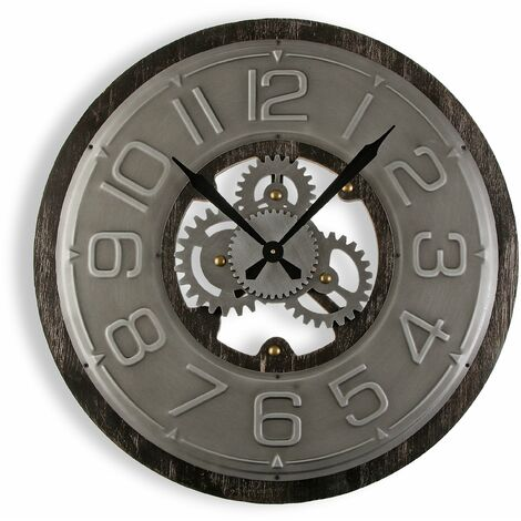Versa Wyandra Reloj de Pared Silencioso Decorativo, 58x4x58cm - Gris