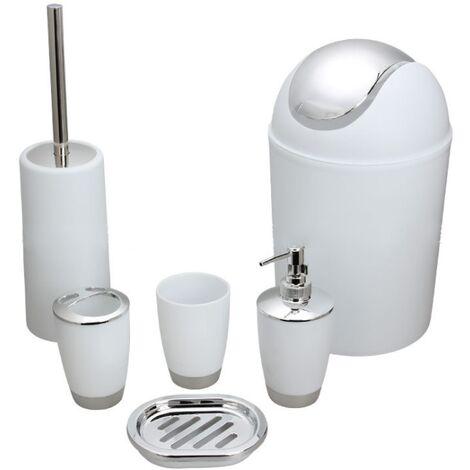 6 Stück Badzubehör Toilettenartikel Set Seifenspender Toilettenbürste Toilettenbürstenhalter Getränkehalter Zahnbürstenhalter Mini weißer Mülleimer