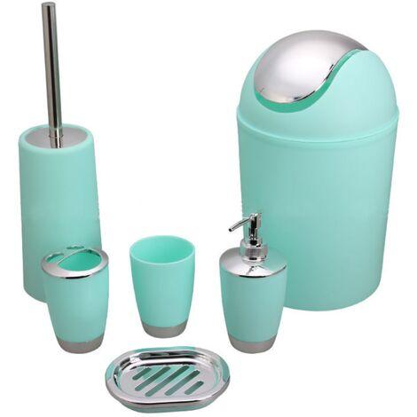 6 Stück Badzubehör Toilettenartikel Set Seifenspender Toilettenbürste Toilettenbürstenhalter Getränkehalter Zahnbürstenhalter Mini Mülleimer grün
