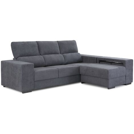 Sofá chaiselongue MACU | Home Heavenly - Sofá Chaiselongue MACU, 3 plazas, Reversible con Asiento Deslizante y arcón en Tela Antimanchas color Gris - Gris marengo -Marte