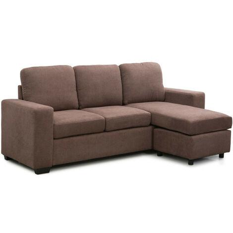 me Heavenly®  Sofá Chaiselongue MIKA, de 3 plazas con pouff reversible en tapizado de tela antimanchas | Color : Marrón - Marron Mica