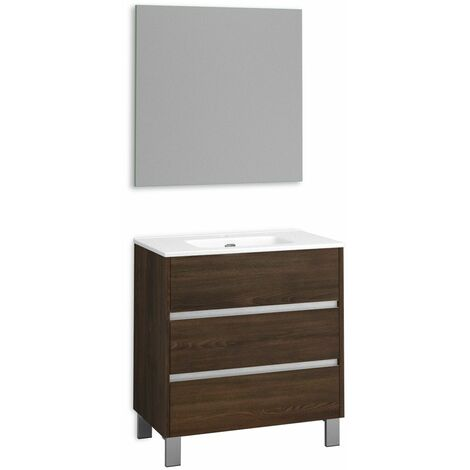 Mueble + lavabo Escorpio Al Suelo | Con Espejo Sun - No - 100 cm - Wengué Nature