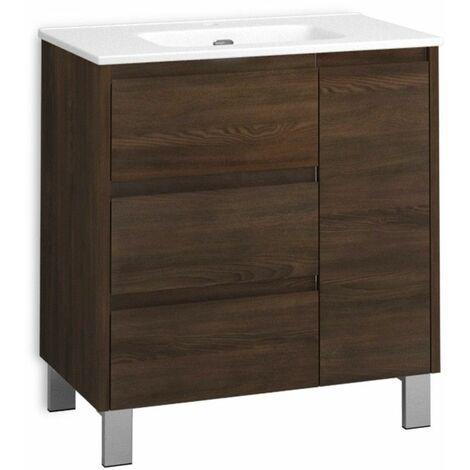 Mueble + lavabo Cervino Al Suelo   Mueble + Lavabo - No - 90 cm - Wengué Nature