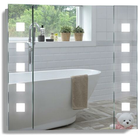 MOOD Armoire de toilette pour salle de bain avec miroir lumineux, antibuée, prise pour rasoir, détecteur de mouvement et éclairage LED 60cm(H) x 65cm(l) x 12cm(P) - Argent