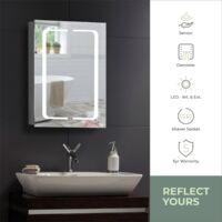 MOOD Armoire de toilette pour salle de bain avec miroir lumineux, antibuée, prise pour rasoir, détecteur de mouvement et éclairage LED 70cm(H) x 50cm(l) x 15cm(P) C17 - Argent