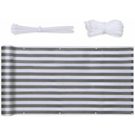 Brise Vue renforc� en HDPE 6 x 0,9m Blanc Gris � Rayures