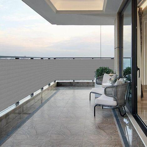 Brise-Vue renforcé HDPE 220 g/m² avec Oeillets, Gris 0.9 x 6 m