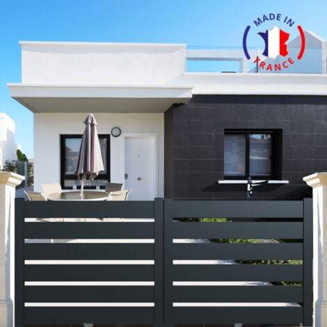 Portail aluminium coulissant SAH en kit dimension L.3000 (entre piliers) X H.1500 mm couleurs Gris (RAL 7016)