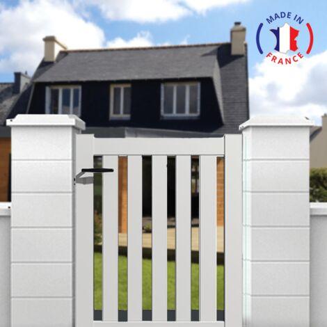 Portillon aluminium modèle ajouré en kit dimension L.1000 (entre piliers) x H.1200 couleurs Blanc (RAL 9010)